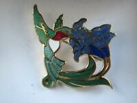 Vintage Signed Fish Cloisonne Enamel Hummingbird Flowers Gold Plated Brooch Pin