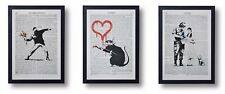 3 FRAMED BANKSY  ART PRINTS ON OLD ANTIQUE BOOK PAGE FLOWER THROWER DOROTHY RAT