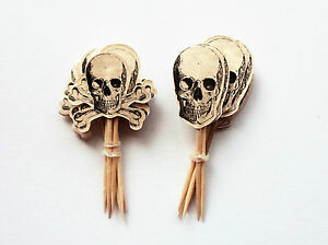 PIRATE HALLOWEEN 12 SKULL CUPCAKE PICKS TOPPERS SKELETON PARTY TABLE DECORATION
