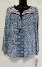 Jolt Peasant Boho LS Blouse Womens / Juniors  Shirt Size XS Blue Pink New w Tags