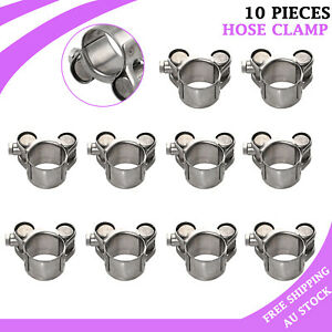 10x Stainless Steel Hose Clamp 20-22mm Heavy Duty Exhaust Turbocharged Clip NEW