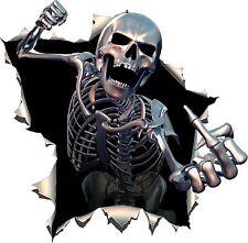 Skull Skeleton Middle Finger Punch Sticker For Bumper Helmet Tablet Laptop #36
