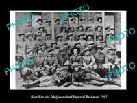 OLD LARGE HISTORIC PHOTO OF BOER WAR AUSTRALIAN SOLDIERS 5th QLD BUSHMEN c1902