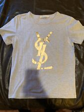 Yves Saint Laurent YSL RARE Men's T-Shirt Teal/Gold
