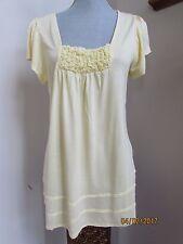 New Women size L Willi Smit Pale Yellow Soft Rayon Blouse Top Shirt Babydoll