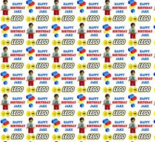 Personalised Wrapping Paper LEGO inspired Birthday Own Name Gift wrap