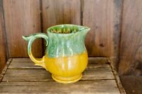 Vintage USA Pottery Pitcher  Green and Yellow Glaze