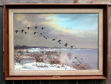 "W R THRASHER ""Flying Home"" - Original Oil on Canvas Painting 24 x 36 Framed"