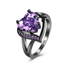 Heart Shaped Amethyst Emerald Engagement Ring 10KT Black Gold Filled Size 6-11