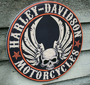 Harley-Davidson Round Sign SKULL  Tin Sign, 12 x 12 inches
