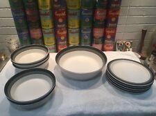 11 pcs Vintage Kashuga Arrow Stone Black Foot dinnerware incl. lge veg bowl