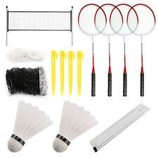 Professional Badminton Set 4 Player Racket Shuttlecock Poles Net Bag Game