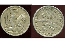 CZECH REPUBLIQUE  TCHECOSLOVAQUIE   1 koruna 1922   ( etat )