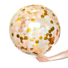 GIANT 90CM 3ft Confetti Balloon Large Clear Gold Glitter Baby Shower Wedding AY