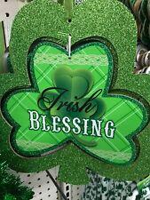 """St Patricks DayDoor Wreath Clover Wall Hanging Shamrock Sign Décor 12"""" x 11"""""""