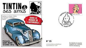 """FDC BELGIQUE """"TINTIN et ses Amis - VOITURE / CADILLAC LASALLE - CASTAFIORE"""" 2014"""