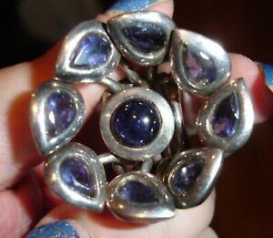 14 carat silver iolite ring, huge flower design 37g size K