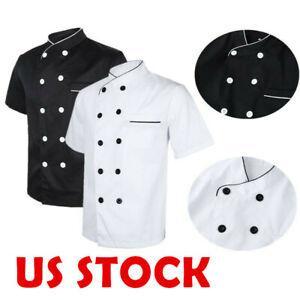 Chef Coat Jacket Men Women Kitchen Short Sleeves Cooker Work Restaurant Uniform