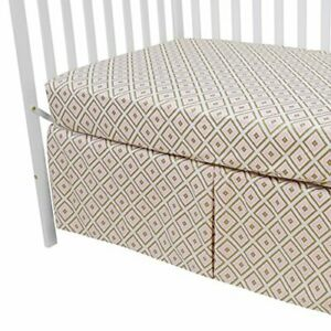 American Baby Company 100% Cotton Percale Fitted Crib Sheet and Skirt Gold/Pi...