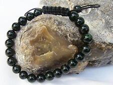 Men's GEMSTONE bracelet all 8mm NATURAL GREEN GOLDSTONE beads