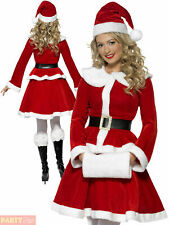 Ladies Deluxe Miss Santa Costume + Muff Christmas Fancy Dress Womens Xmas Outfit