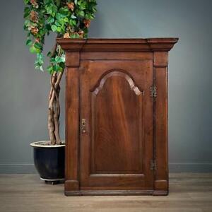 Attractive Antique Georgian Oak Hanging Corner Cabinet