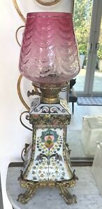 Warden & Inglis French antique oil lamp champleve