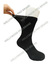 6 PAIRS DIABETIC SOCKS SUPER STRETCHY COTTON SOLID BLACK CREW SOCKS SPORTS 12-15
