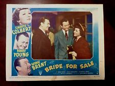 Claudette COLBERT, George BRENT, Robert YOUNG Lobby Card BRIDE FOR SALE (1949)