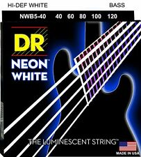 DR NWB5-40 Neon White BASS Guitar String 5-String Set  40-120