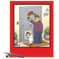 J1657XSG Jumbo Funny Christmas Card: Dog Wreath With Envelope greeting cards