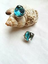 White glass and blue glitters  silver  stud earrings