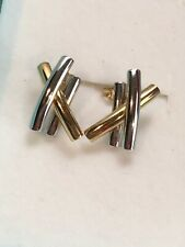 New 14K Yellow & White Gold X's Hugs Post Stick Back Pierced Earrings