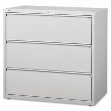 """Lorell 3-drawer Lt. Gray Lateral Files - 42"""" X 18.6"""" X 40.3"""" - Steel (llr88032)"""