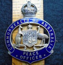 Obsolete Commonwealth of Australia police cap badge. Peace Officer version.Rare.