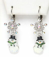 KIRKS FOLLY ~~NEVER RELEASED~~ POLAR EXPRESS SNOWMAN SNOWFLAKE LEVERBACK EARRING