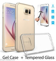 Samsung S7 CASE Clear Silicone UltraThin Cover & Tempered Glass Screen Protector