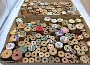 Vintage 170+ Wood Thread Spools Many Shapes & Sizes Sewing