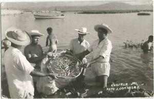 Ocotlan, Mexico old RPPC Postcard, Lake Chapala Fishing