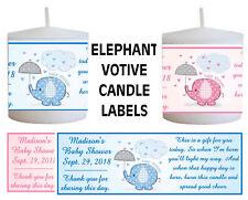 14 PINK ELEPHANT BLUE ELEPHANT BABY SHOWER FAVORS VOTIVE CANDLE LABELS