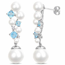 c09a626a4 Amour Sterling Silver Pearl Topaz Diamond Cluster Drop Earrings (10-10.5 mm)