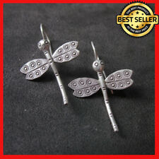 Fine Silver Earrings Sterling 925 Premium Vintage Dragonfly shape Dangle E107