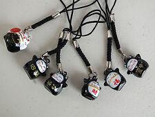 6 Negro Chino Fortuna Lucky Cat chino teléfono llavero encanto Fiesta De Cumpleaños