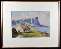 Original Irish Art Watercolour Painting Donegal Cliffs Signed Dated 1945