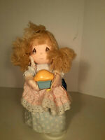 "Vtg PRECIOUS MOMENTS Musical Doll RONNIE Carry Pie w TAGS 12"" Whistle While Work"