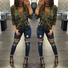 Women Bandage Long Sleeve Camouflage Shirt Slim V Neck Blouse Top T-Shirt