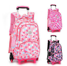 Girls Wheeled Trolley School Bag Detachable Rolling Backpack Travel Backpack New