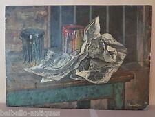 DIPINTO ANTICO OLIO SU TAVOLA 1960 CIRCA INTERNO STUDIO DEL PITTORE FIRMATO p5