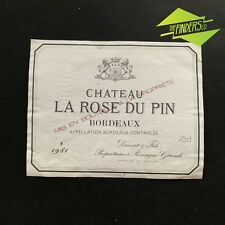 VINTAGE 1981 CHATEAU LA ROSE DU PIN BORDEAUX FRENCH WINE BOTTLE LABEL