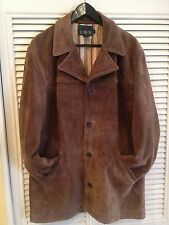 J. Crew Suede Leather Heavy Coat Size Small Striped Lining Nice Jacket Brown